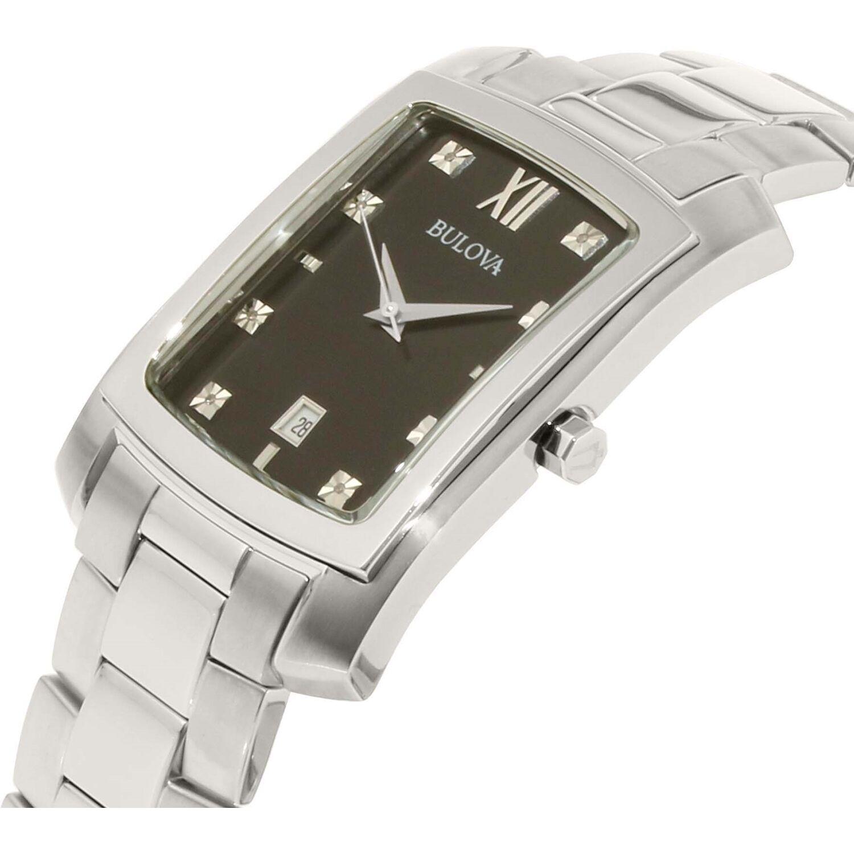 Bulova Men's 96D125 Diamond Markers Black Dial Silver-Tone Bracelet 31mm Watch