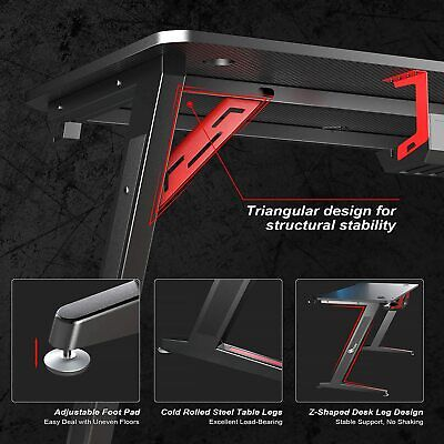 Gaming Desk Z-Shaped More Structure Stable 47″ Computer Desk, For Home Office Furniture