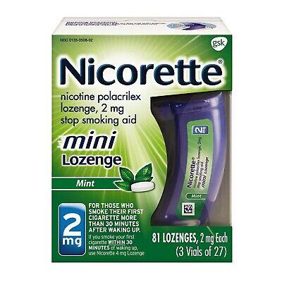 New Nicorette mini Nicotine Lozenge, Stop Smoking Aid, 2mg Mint Flavor, 81 (Nicorette Stop Smoking Aid Mint Flavored Mini Lozenge)