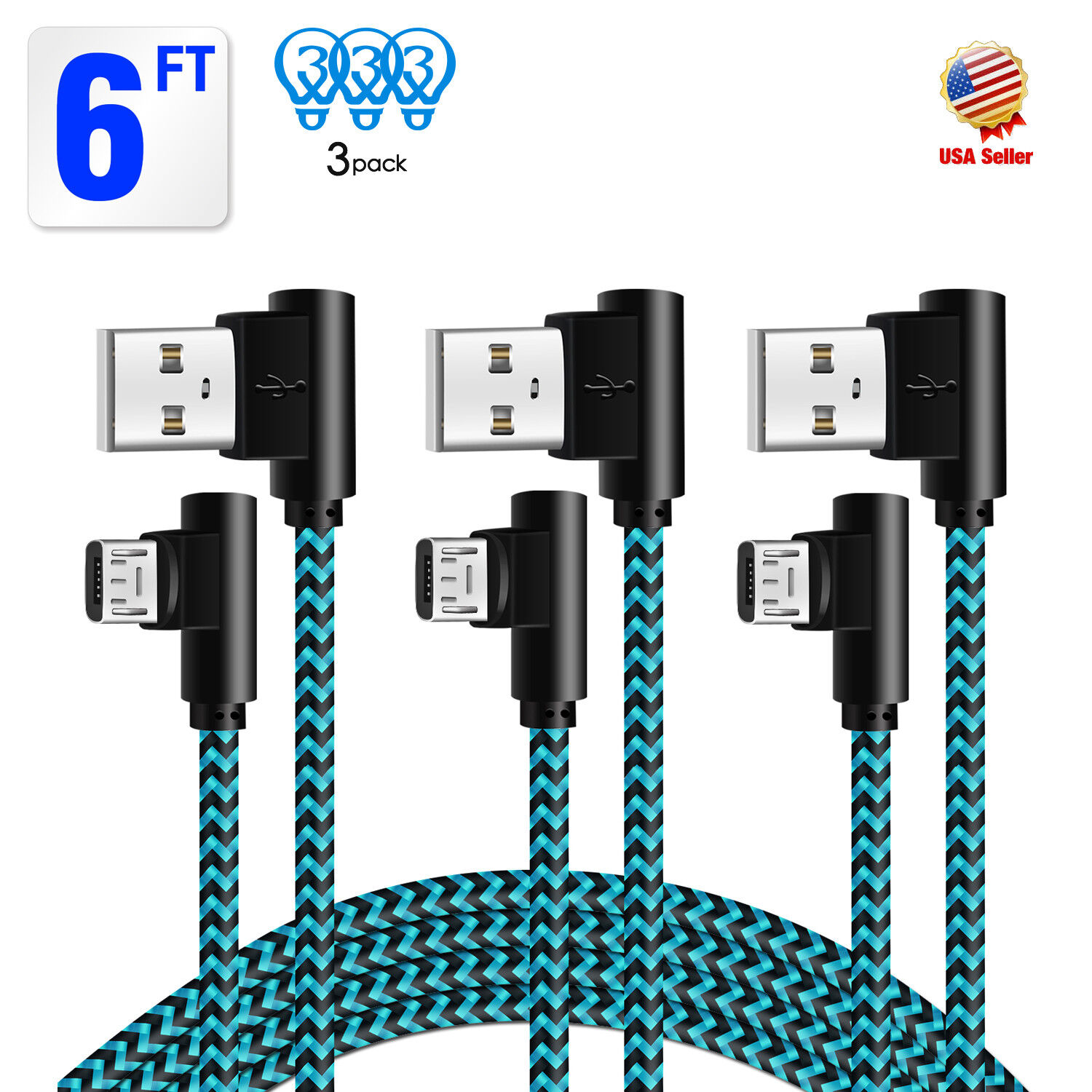 3 Pack 6 ft 90 Degree Right Angle Micro USB Charger Cable fo