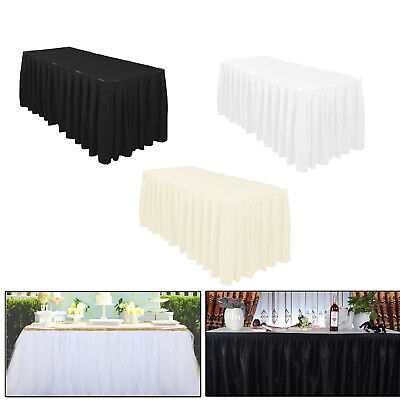 Weiß Schwarz Elfenbein Tisch Rock Plissiert Polyester Geburtstag Hochzeit ()