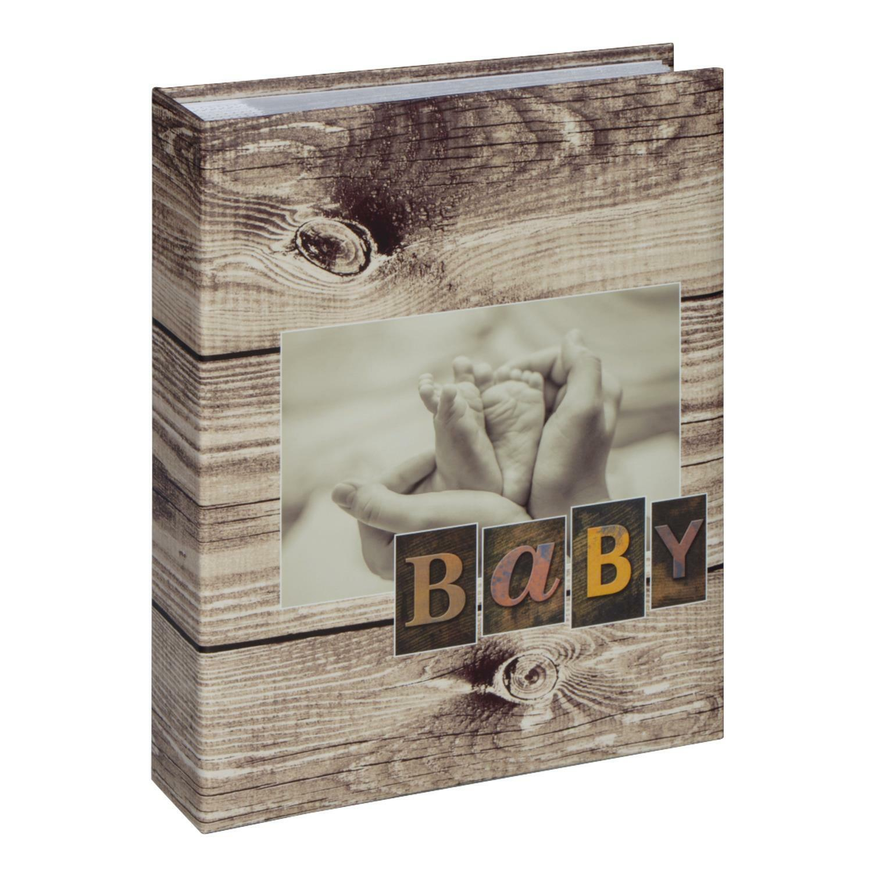 Fotobuch Babyfüße Holzimitat Fotoalbum für 200 Fotos 10x15cm / 22,5 x 22,5 cm