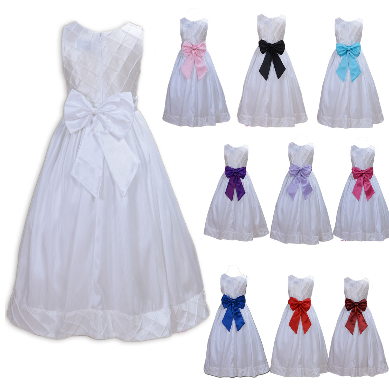 Weiß Blumenmädchen Brautjungfer Kleid 2 to 12 Jahre Sash | Shopping ...