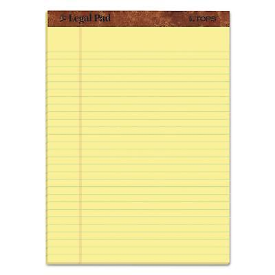Tops Legal Rule Writing Pads 8-12 X 11-34 Canary Yellow Paper Pack Of 12