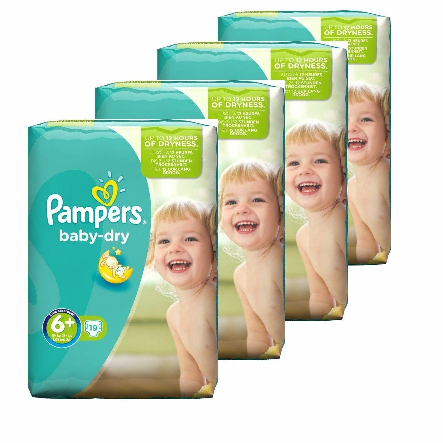 Pampers Baby Dry Gr 6+ Plus  Extra Groß Windeln 16+kg  Micro Pearls 76 St