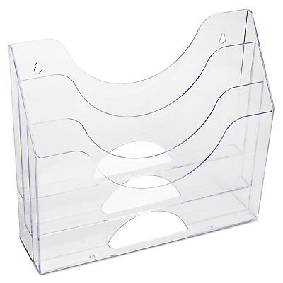 Rubbermaid Three-pocket File Folder Organizer Plastic 13 X 3 12 X 11 12 Clear