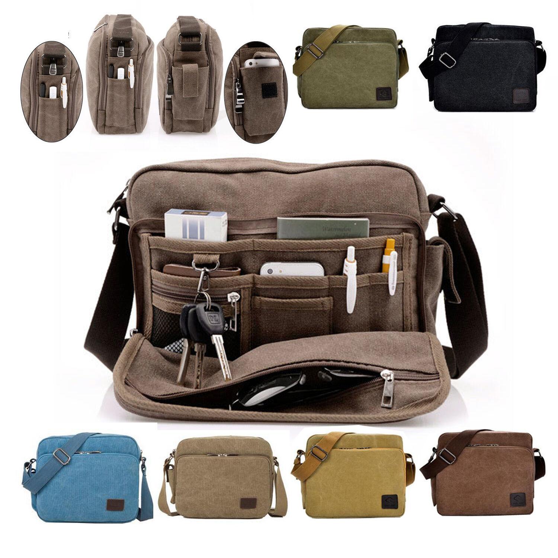 Men Canvas One Shoulder Bag Military Messenger Satchel Crossbody Travel Handbags