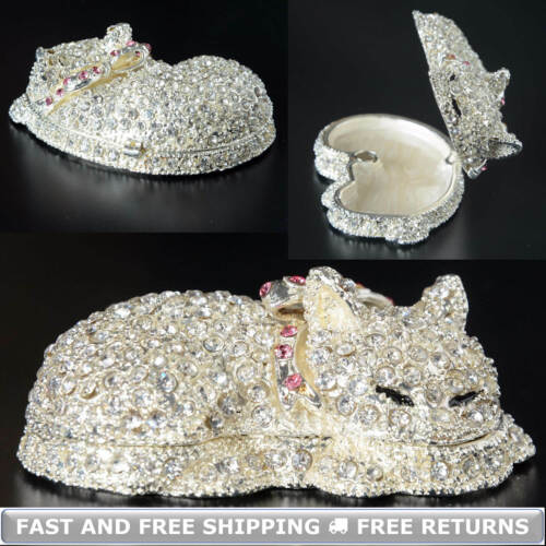 Jeweled Crystals Metal Hinged Enamel Cat Trinket Box With Lid Decor Ring Storage