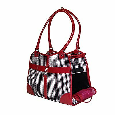 NEW Houndstooth Print Pet Dog Cat Animal Soft Tote Bag Carrier Red - 267