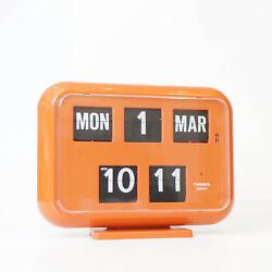 Twemco QD35 Retro Modern Flip Clock Wall Calendar Made in Hong Kong Orange