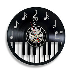 Black Music Instruments Notes Exclusive Wall Clock Vinyl Record GIFT