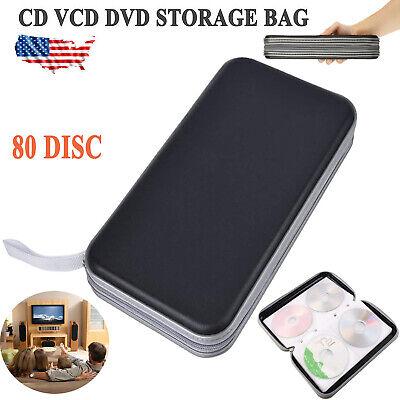 80 Sleeve Cd Dvd Blu Ray Disc Carry Case Bag Holder Wallet Storage Ring Binder