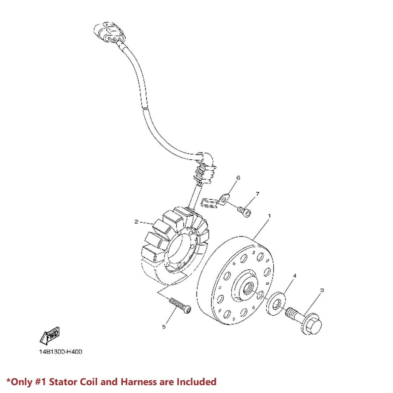 2009-2014 YAMAHA YZF R1 YZFR1 LEAD WIRE MAGNETO COIL ... on