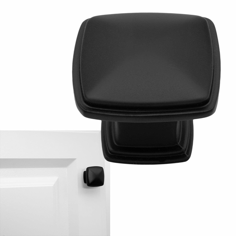 Matte†Flat Black Cabinet Hardware Square Deco Knob Drawer Handle 1-1/4″ Diameter Building & Hardware