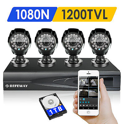 DEFEWAY 4 Outdoor 1080N HD 1500TVL Home Security Camera System 4CH HDMI DVR 1TB
