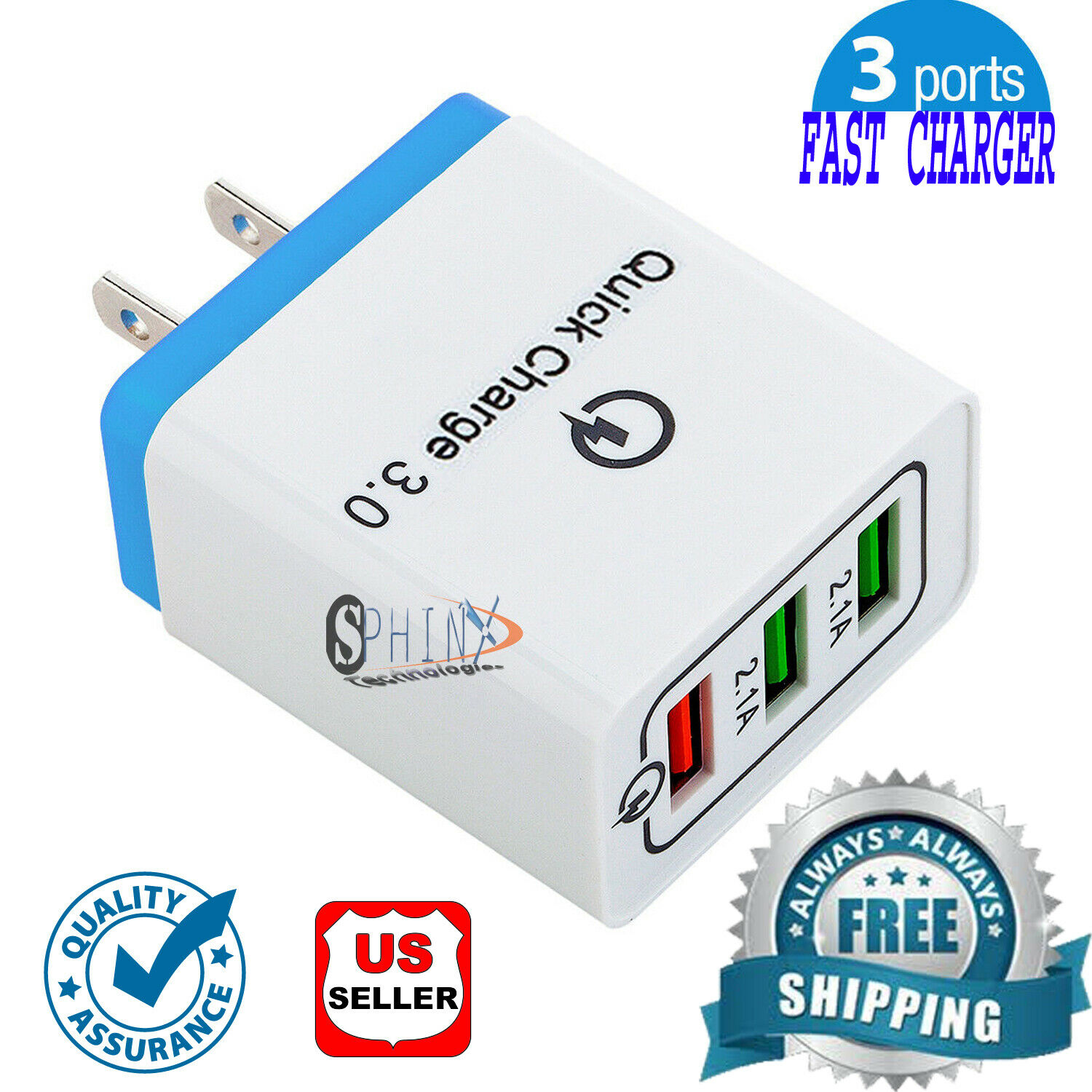 3Port Fast Quick Charge QC 3.0 USB Hub Wall Charger Adapter