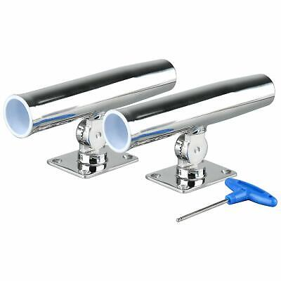 Pair Adjustable Stainless Steel Tournament Single Rod Holder Transom Mounted -