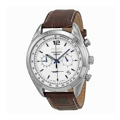 Seiko Chronograph White Dial Stainless Steel Brown Leather Mens Watch SSB095