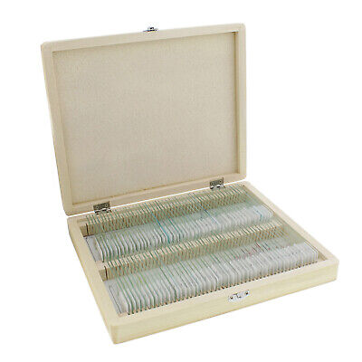 Monmed Prepared Microscope Slides - 100pc Microscope Sample Kit With Wooden Box