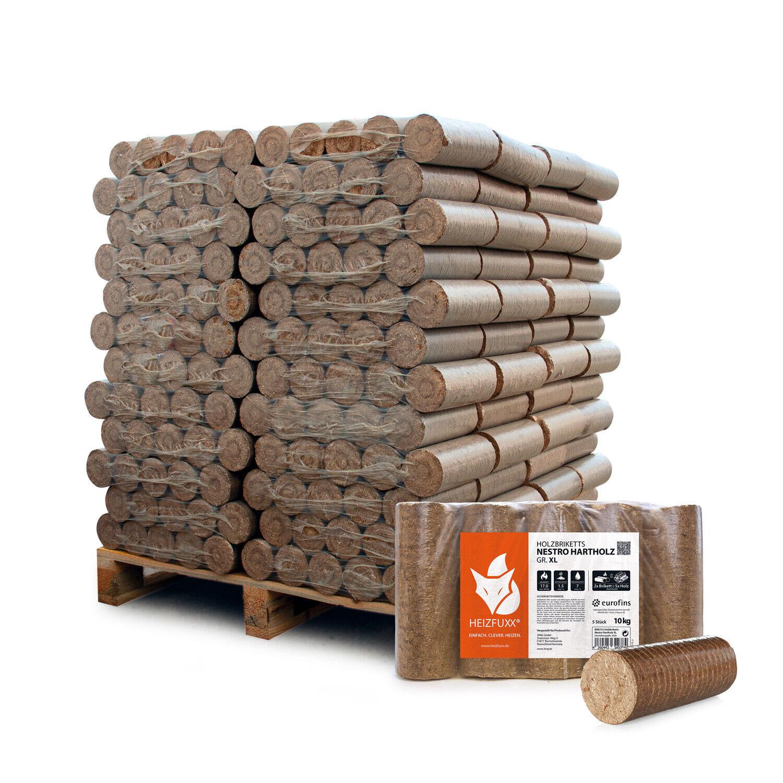 Holzbriketts Nestro Hartholz Kaminbrikett Rund Öko Eiche 10kg x 96 960kg Palette