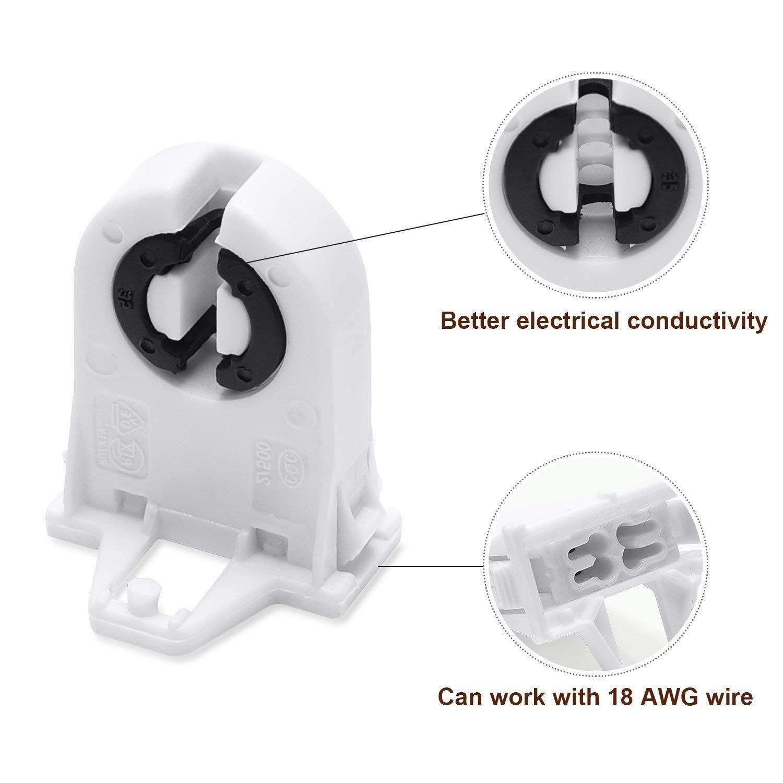 20x Fluorescent T8//T12 LED Bi-Pin Non-shunted Tombstone Lamp Holder Light Socket