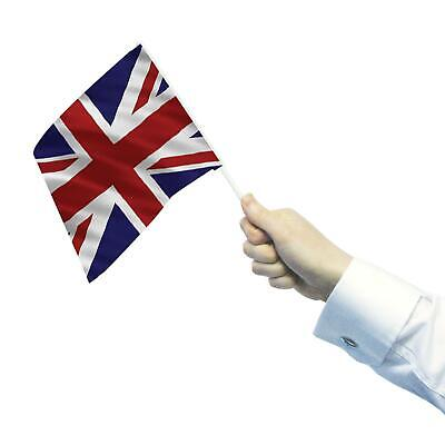 6 Pack Great Britain UNION JACK Hand Waving GB Flags on Sticks 15 x 22cm