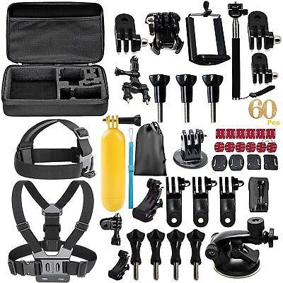 60 in 1 Accessories Set Kit For GoPro Hero 2 3 3+ 4 5 SJCAM Head Chest Strap Pol