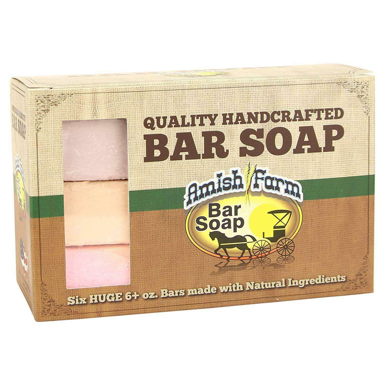Hand Crafted Soap Bars Amish Farms Natural Ingredient Bar Soap 6 HUGE Bath & Body