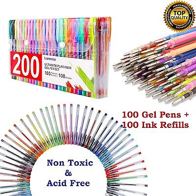 200 Color Gel Pen Set Glitter Coloring Pens Metallic Pastel Neon 100 Ink Refill