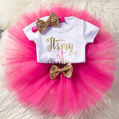It's My 1st Birthday Baby Girl Tutu Party Dress Cake Smash Outfit Clothes Set - Cake Smash Girl