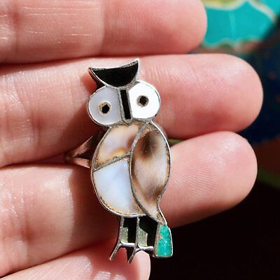 1940s Jewelry Styles and History Size 7 Vintage 1940s C.D. Leekity Zuni Native American Owl Sterling Silver Ring $54.01 AT vintagedancer.com