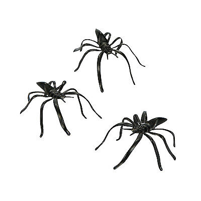 144 Halloween Party Favors Kids Pinata Filler Plastic MINI BLACK SPIDERS - Pinata Party Halloween