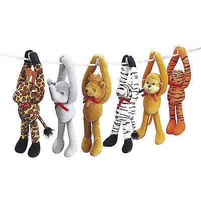 6 Zoo Safari Jungle LONG ARM Plush ZEBRA MONKEY ELEPHANT TIGER LION GIRAFFE