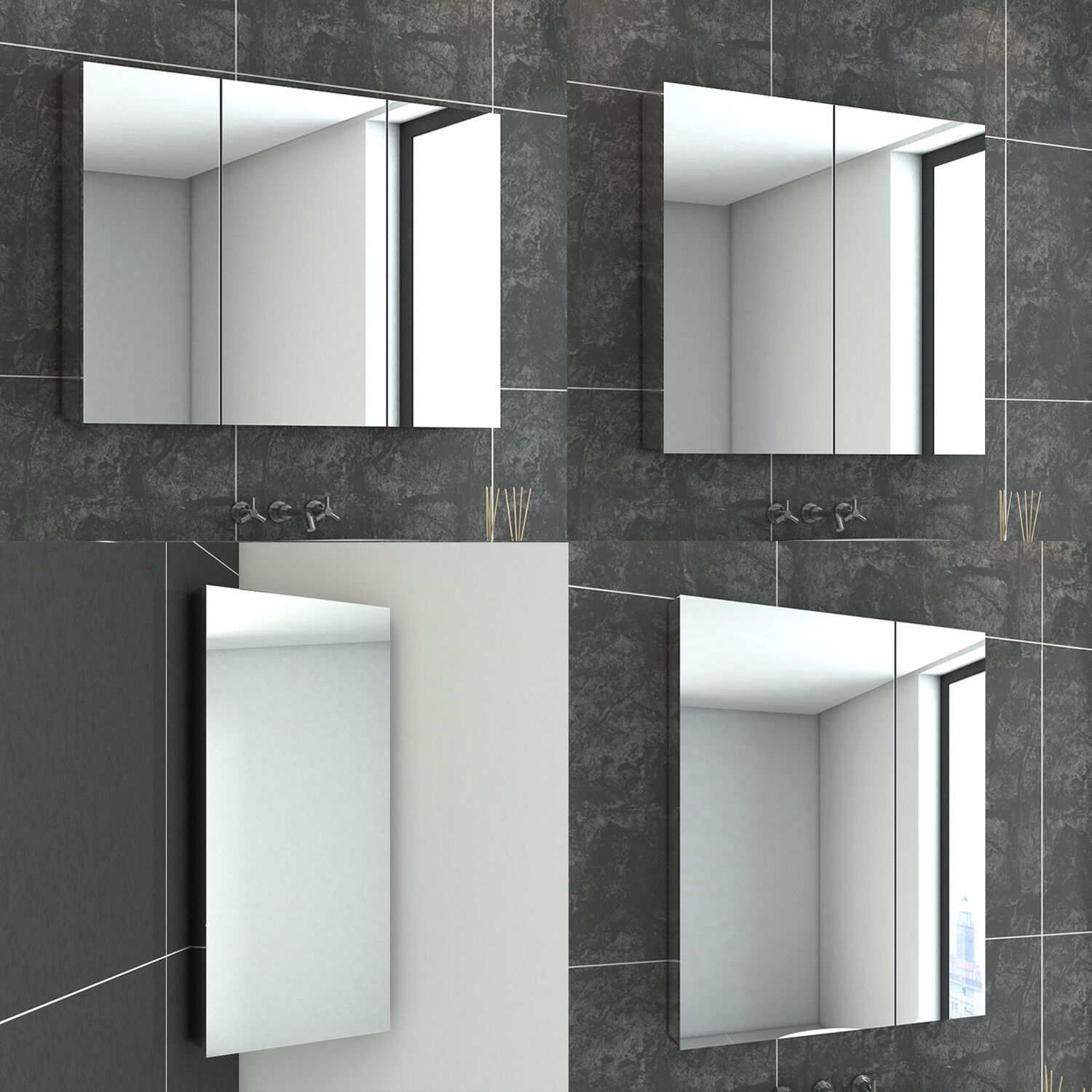Medicine Cabinets Large Capacity Wc Decoration Storage Cupboard Peaceip Bathroom Cabinet With 3 Mirror Doors Wall Mounted Waterproof And Moisture Proof Vanity Mirror Cabinet Home