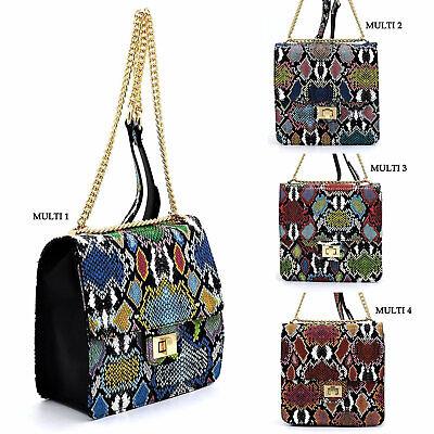 Multi Color Python Snake Skin Twist Lock Flap Crossbody Bag Animal Printed Purse Print Twist Lock