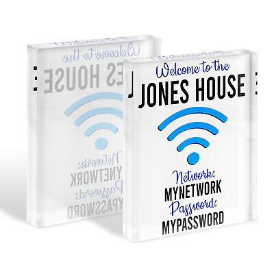 Wifi Password Internet Sign Glass Block House Warming Home Office Gift KGB11 ()