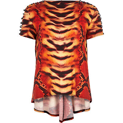 River Island Katie Eary Oversized T-Shirt Tiger Print Eyelet Tunic Top UK 10 12