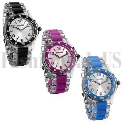 Womans Mens Watch Light Up Glow Sparkle Bling Quartz Analogue Flashing Watch New Quartz Bling Watch