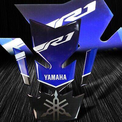 3D Gel Gas/Fuel Tank Pad Decal/Sticker Reflective Yamaha&YZF-R1 Logo Blue/Black for sale  Baldwin Park