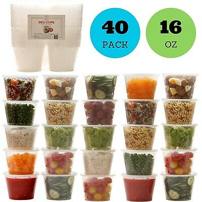 Container With Lid (16oz Plastic Food Storage Containers with Lids, Restaurant Deli Cups (Set of)