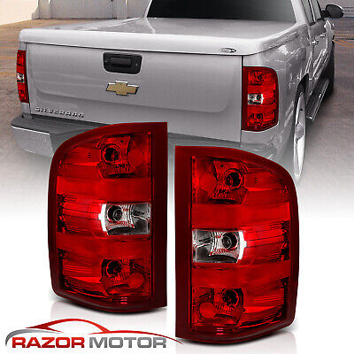 For 07-14 Chevy Silverado Truck Red Clear Factory Replacement Brake Tail Lights