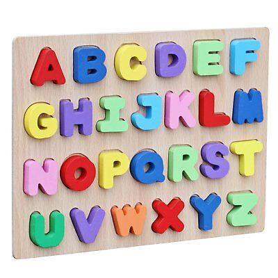 Alphabet Wooden Peg Puzzle (Wooden Colorful Alphabet English Letters Peg Puzzle Jigsaw Educational for Kids )