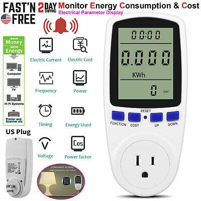 Digital Lcd Power Saving Energy Monitor Watt Amp Volt Kwh Meter Analyzer Us Plug