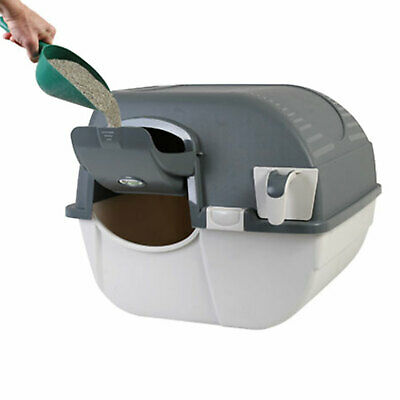 Omega Paw Easy Fill Roll N Clean Self Cleaning Cat Litter Box, Gray Open Box  - $61.95