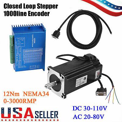 Hss86h Closed Loop Stepper Encoder Motor Nema34 12nm Hybrid Servo Driver Kits Us