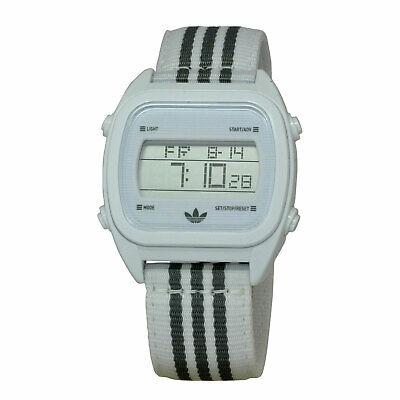 Adidas ADH2732 Sydney 40MM Unisex Digital White with Grey Stripes Fabric Watch