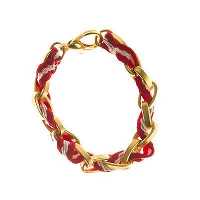 JOOMI LIM Red & White Stripe Cotton Woven Chainlink Bracelet NEW