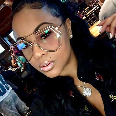 Futuristic Designer Aviator Eyeglasses Metal Frame Clear Lens Women Fashion covid 19 (Frame Womens Sunglasses coronavirus)