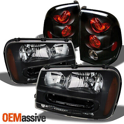 Fits 02-09 Trailblazer Black Bezel Headlights Replacement + Black Tail Lights
