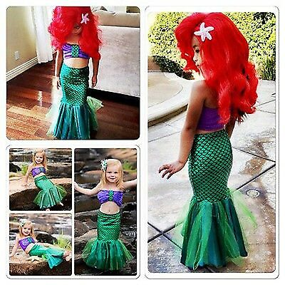 The Little Mermaid Kids Costume Princess Ariel Cosplay Fancy Dress for Girl Kids (Ariel The Little Mermaid Costume For Adults)